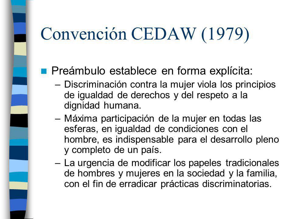Convención CEDAW (1979) Preámbulo establece en forma explícita: