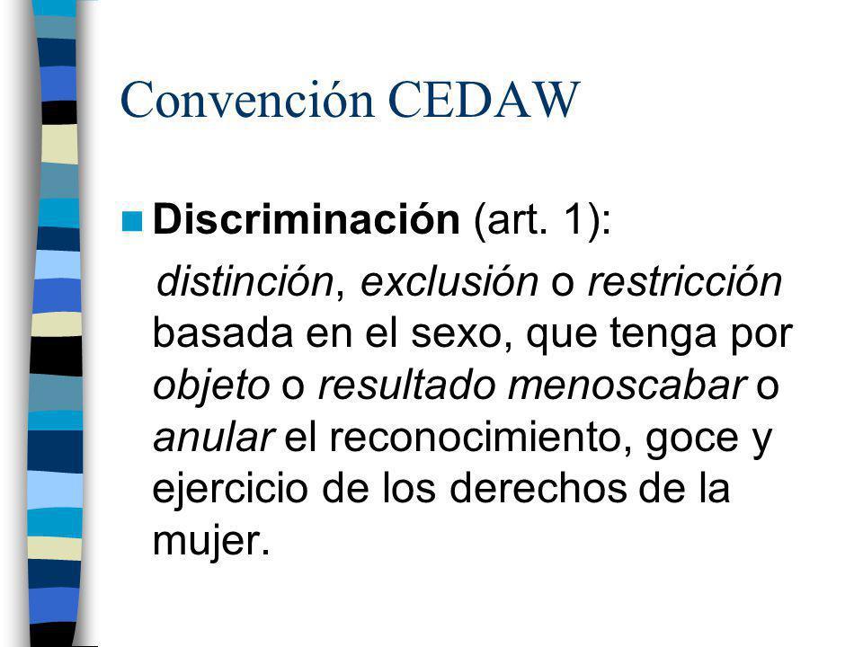 Convención CEDAW Discriminación (art. 1):