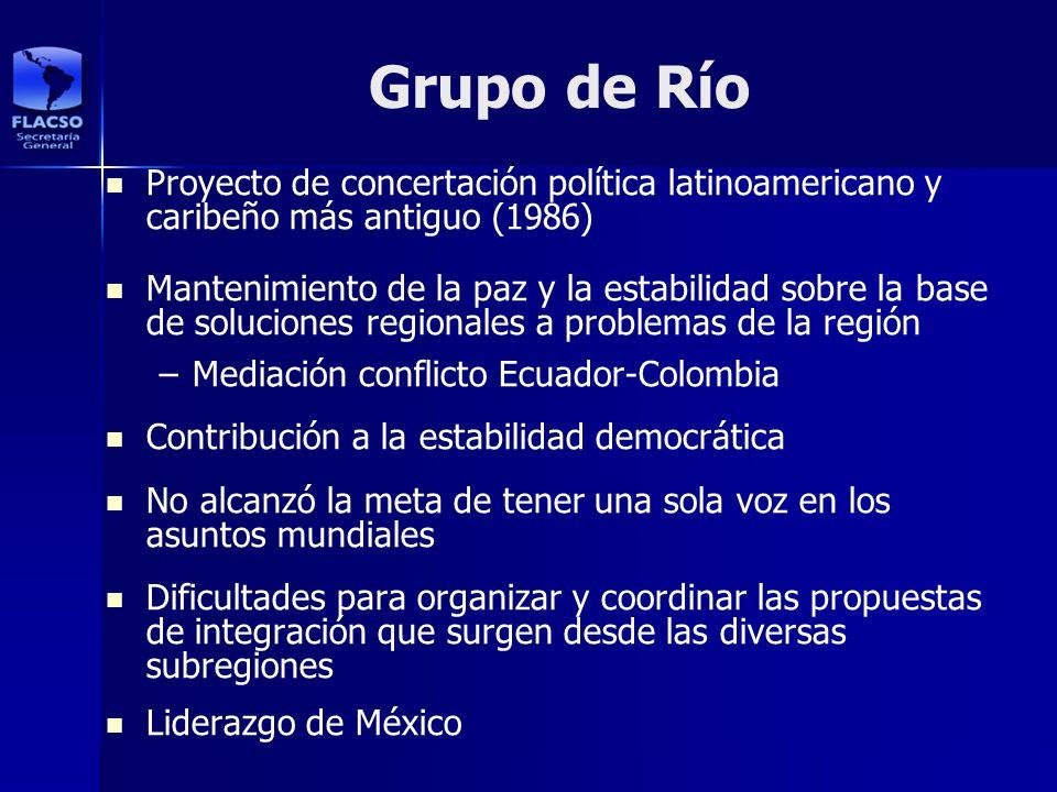Grupo de Río Proyecto de concertación política latinoamericano y caribeño más antiguo (1986)