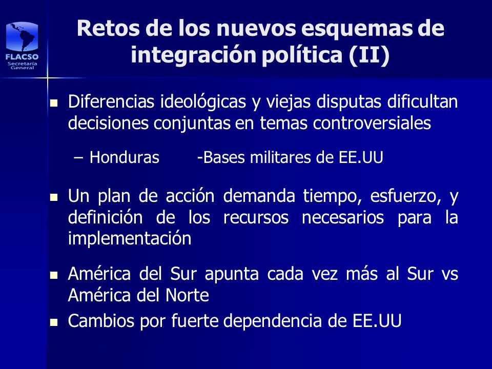 Retos de los nuevos esquemas de integración política (II)
