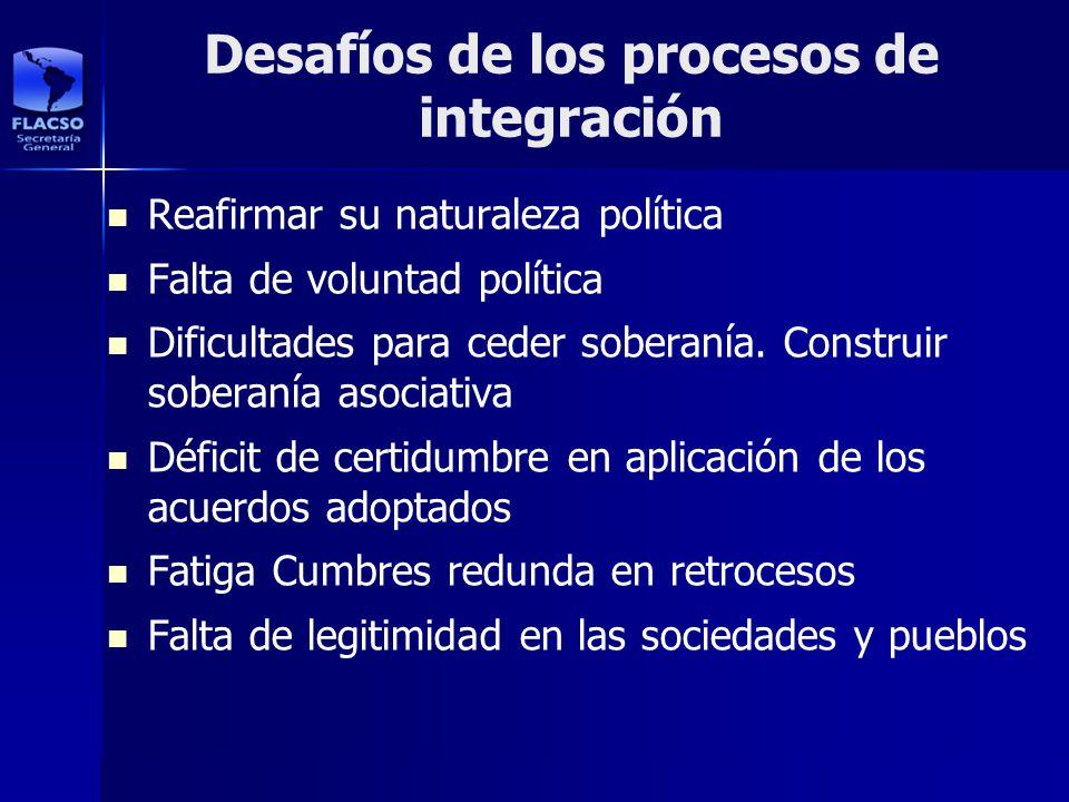 Desafíos de los procesos de integración