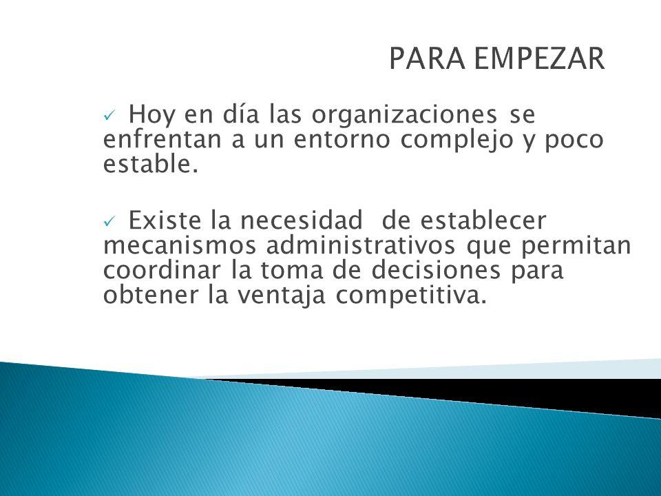 PARA EMPEZAR Hoy en día las organizaciones se enfrentan a un entorno complejo y poco estable.