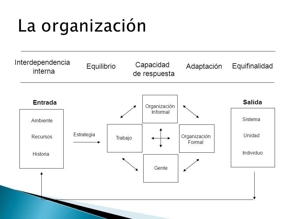 La organización Interdependencia interna Equilibrio Capacidad