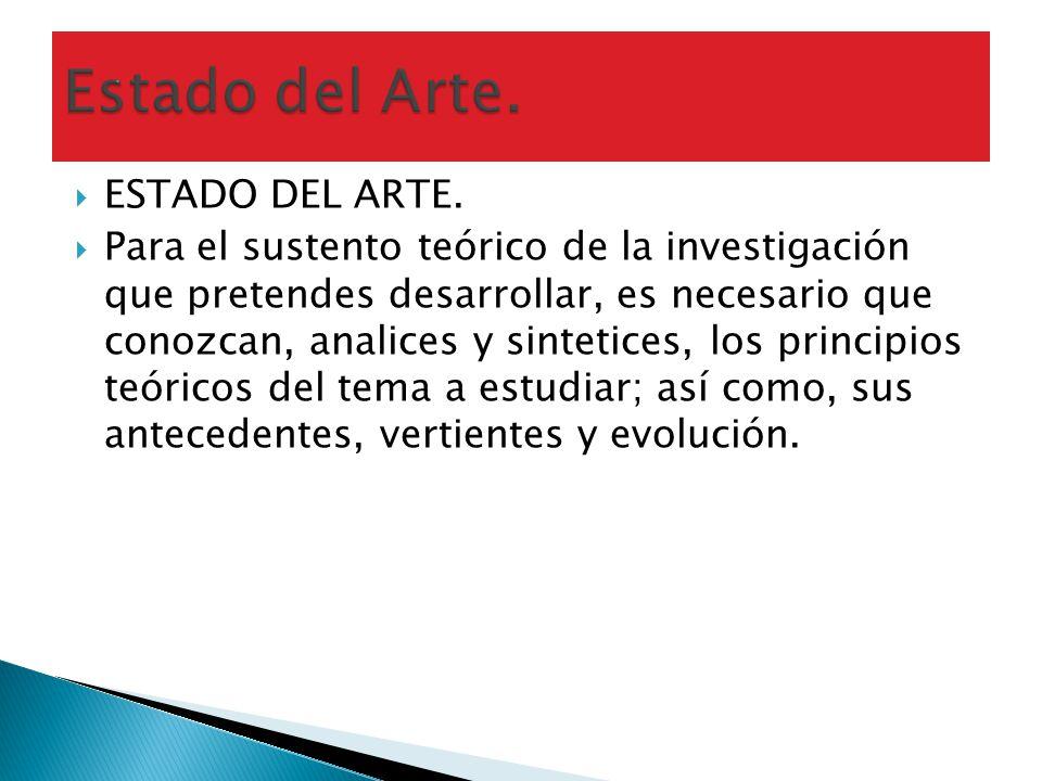 Estado del Arte. ESTADO DEL ARTE.