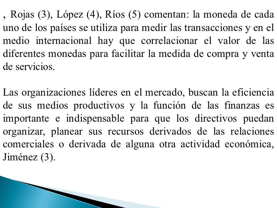 , Rojas (3), López (4), Ríos (5) comentan: la moneda de cada uno de los países se utiliza para medir las transacciones y en el medio internacional hay que correlacionar el valor de las diferentes monedas para facilitar la medida de compra y venta de servicios.
