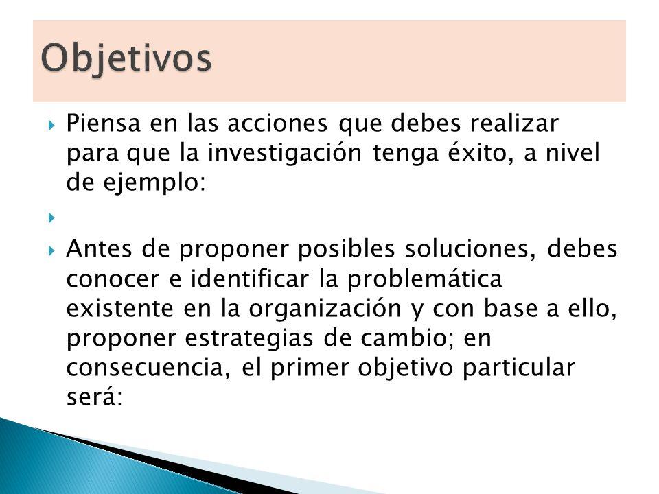Objetivos Piensa en las acciones que debes realizar para que la investigación tenga éxito, a nivel de ejemplo: