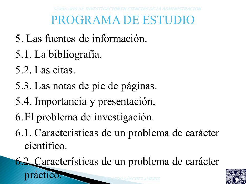 PROGRAMA DE ESTUDIO 5. Las fuentes de información.