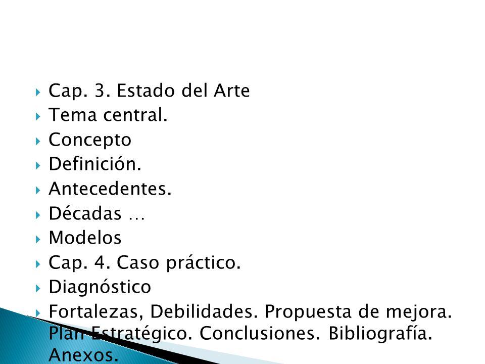 Cap. 3. Estado del Arte Tema central. Concepto. Definición. Antecedentes. Décadas … Modelos. Cap. 4. Caso práctico.