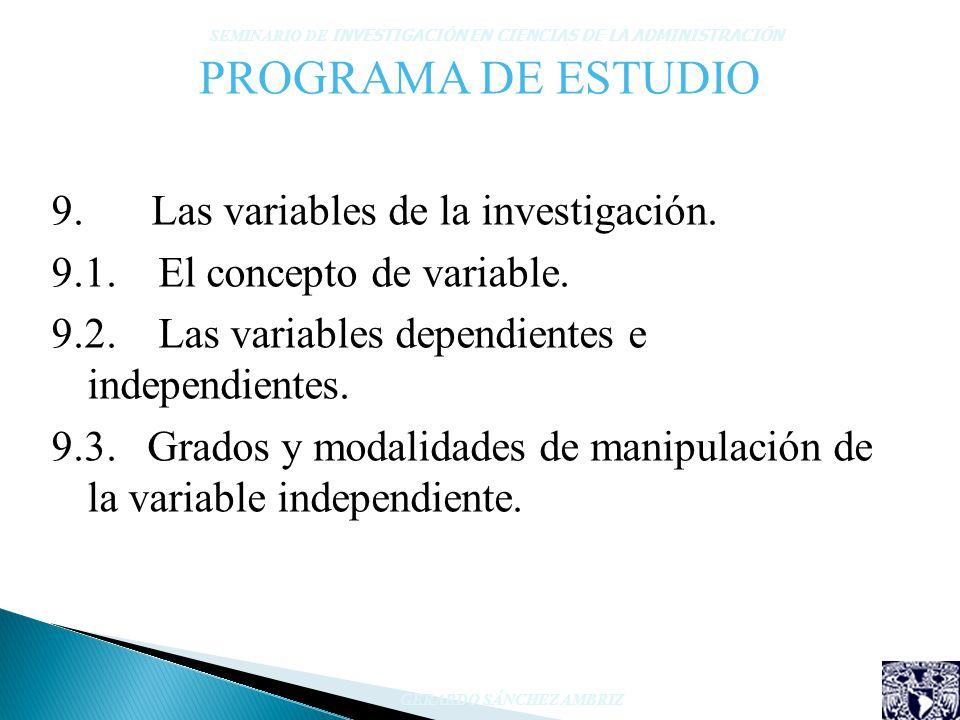 PROGRAMA DE ESTUDIO Las variables de la investigación.