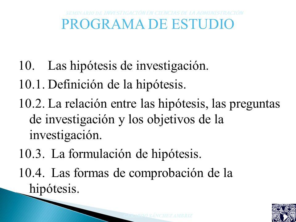 PROGRAMA DE ESTUDIO 10. Las hipótesis de investigación.