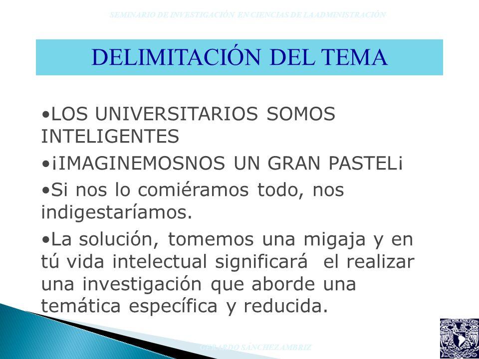 DELIMITACIÓN DEL TEMA LOS UNIVERSITARIOS SOMOS INTELIGENTES