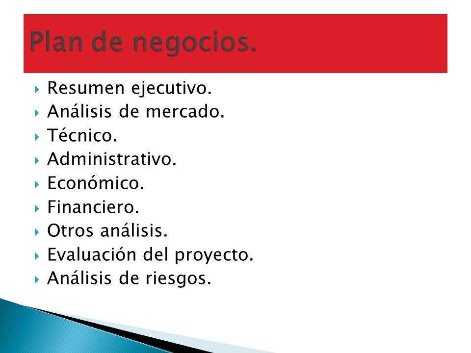 Plan de negocios. Resumen ejecutivo. Análisis de mercado. Técnico.
