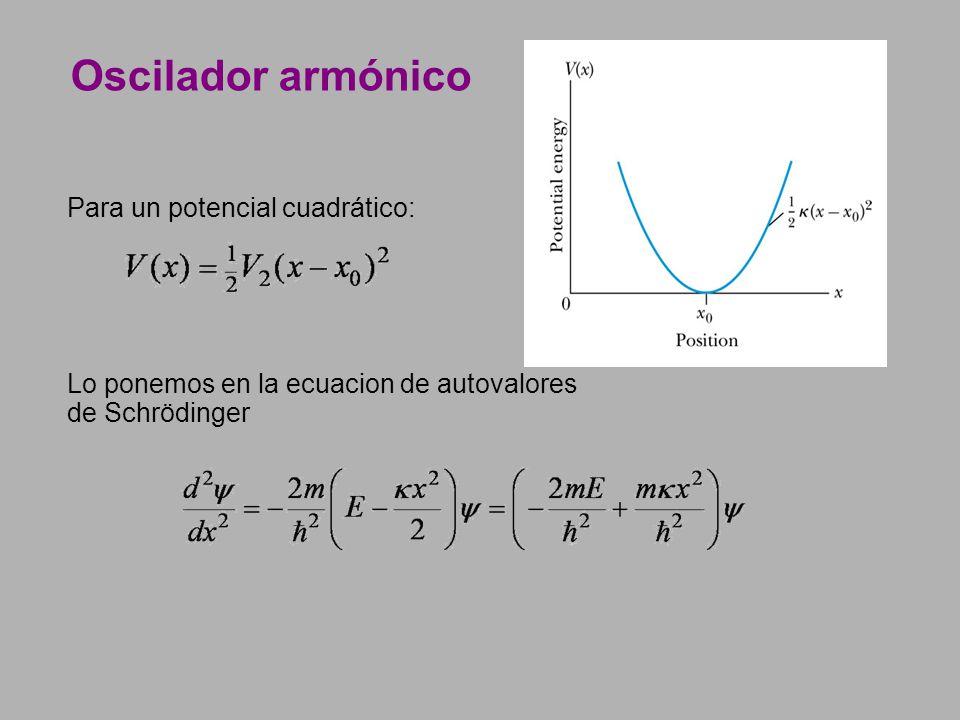 Oscilador armónico Para un potencial cuadrático: