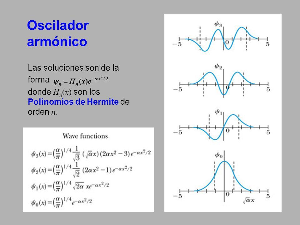 Oscilador armónico Las soluciones son de la forma