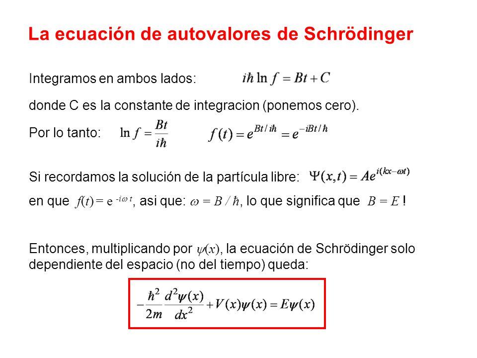 La ecuación de autovalores de Schrödinger