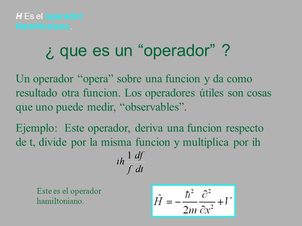 H Es el operador Hamiltoniano.