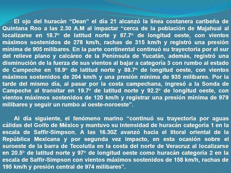 El ojo del huracán Dean el día 21 alcanzó la línea costanera caribeña de Quintana Roo a las 2.30 A.M al impactar cerca de la población de Majahual al localizarse en 18.7° de latitud norte y 87.7° de longitud oeste, con vientos máximos sostenidos de 278 km/h, rachas de 315 km/h y registró una presión mínima de 905 milibares. En la parte continental continuó su trayectoria por el sur del relieve plano y calcáreo de la Península de Yucatán, además, registró una disminución de la fuerza de sus vientos al bajar a categoría 3 con rumbo al estado de Campeche en 18.9° de latitud norte y 88.7° de longitud oeste, con vientos máximos sostenidos de 204 km/h y una presión mínima de 935 milibares. Por la tarde del mismo día, al pasar por la costa campechana, ingresó a la Sonda de Campeche al transitar en 19.7° de latitud norte y 92.2° de longitud oeste, con vientos máximos sostenidos de 120 km/h y registrar una presión mínima de 979 milibares y seguir un rumbo al oeste-noroeste .