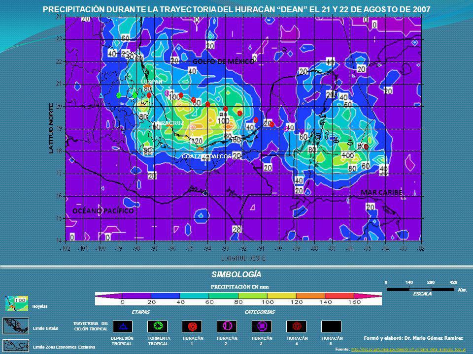 PRECIPITACIÓN DURANTE LA TRAYECTORIA DEL HURACÁN DEAN EL 21 Y 22 DE AGOSTO DE 2007