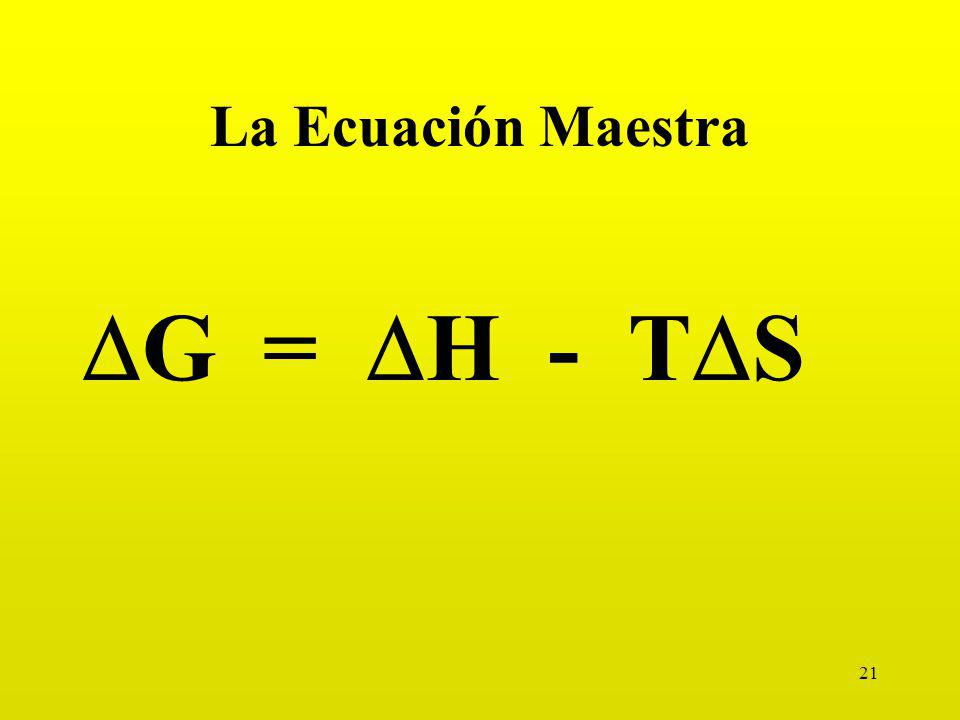 La Ecuación Maestra DG = DH - TDS