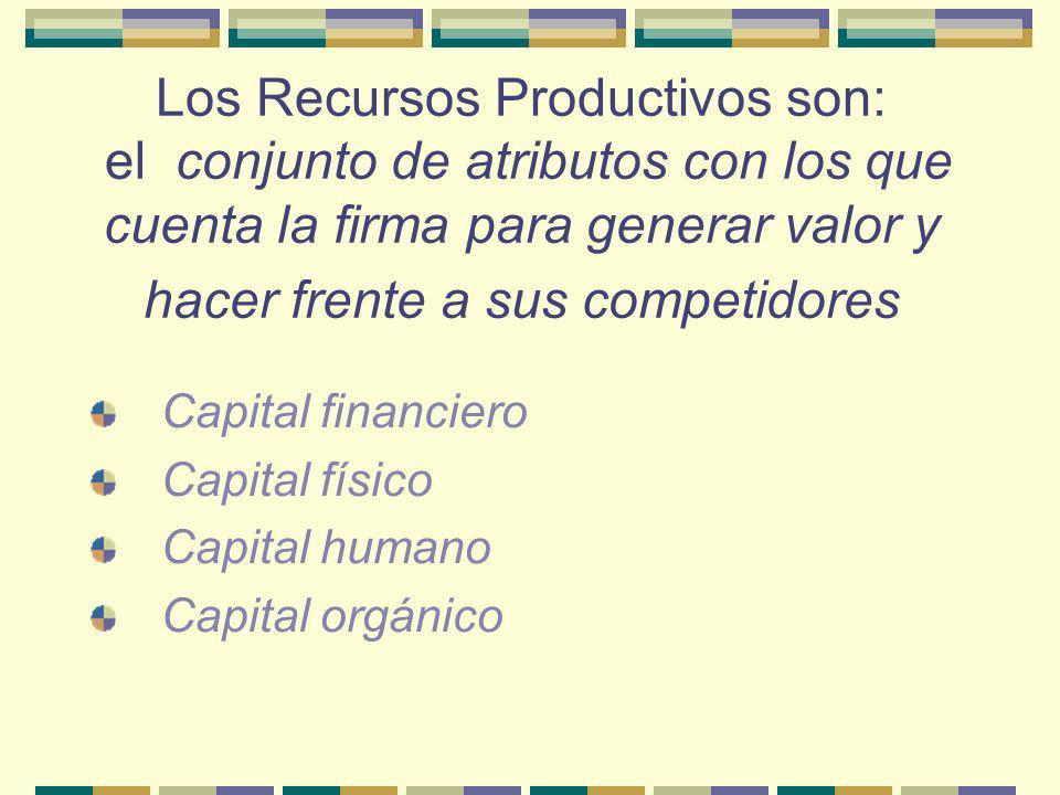 Los Recursos Productivos son: el conjunto de atributos con los que cuenta la firma para generar valor y hacer frente a sus competidores