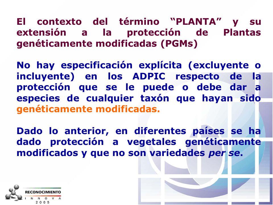 El contexto del término PLANTA y su extensión a la protección de Plantas genéticamente modificadas (PGMs)