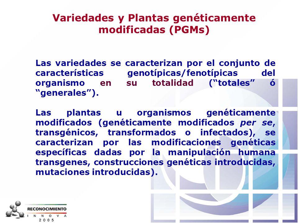 Variedades y Plantas genéticamente modificadas (PGMs)