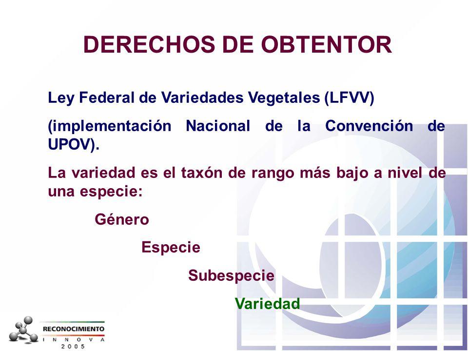 DERECHOS DE OBTENTOR Ley Federal de Variedades Vegetales (LFVV)