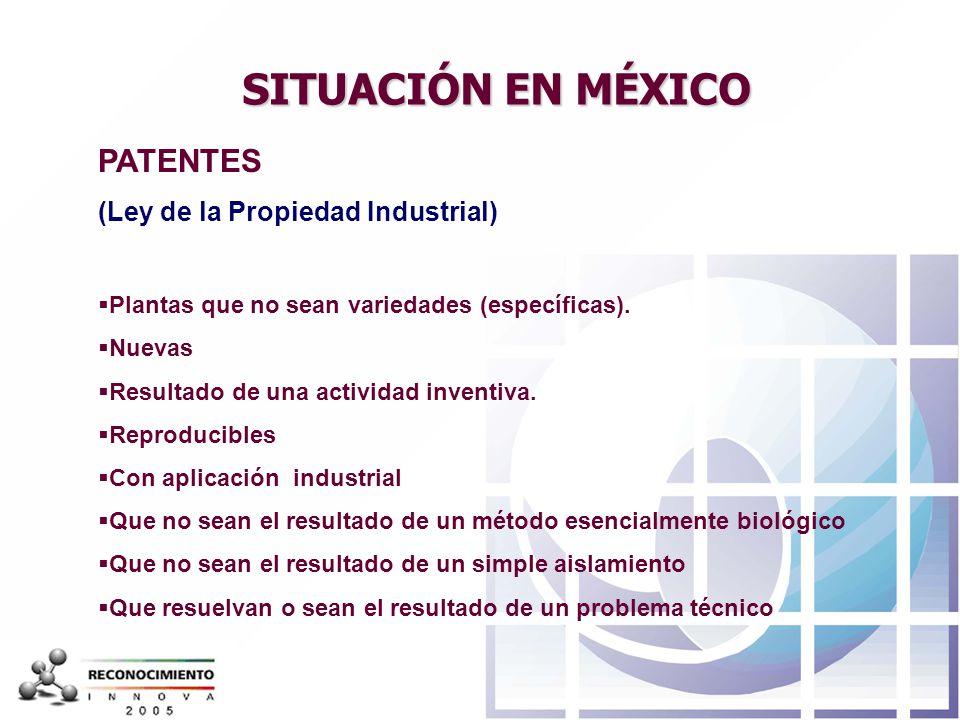 SITUACIÓN EN MÉXICO PATENTES (Ley de la Propiedad Industrial)