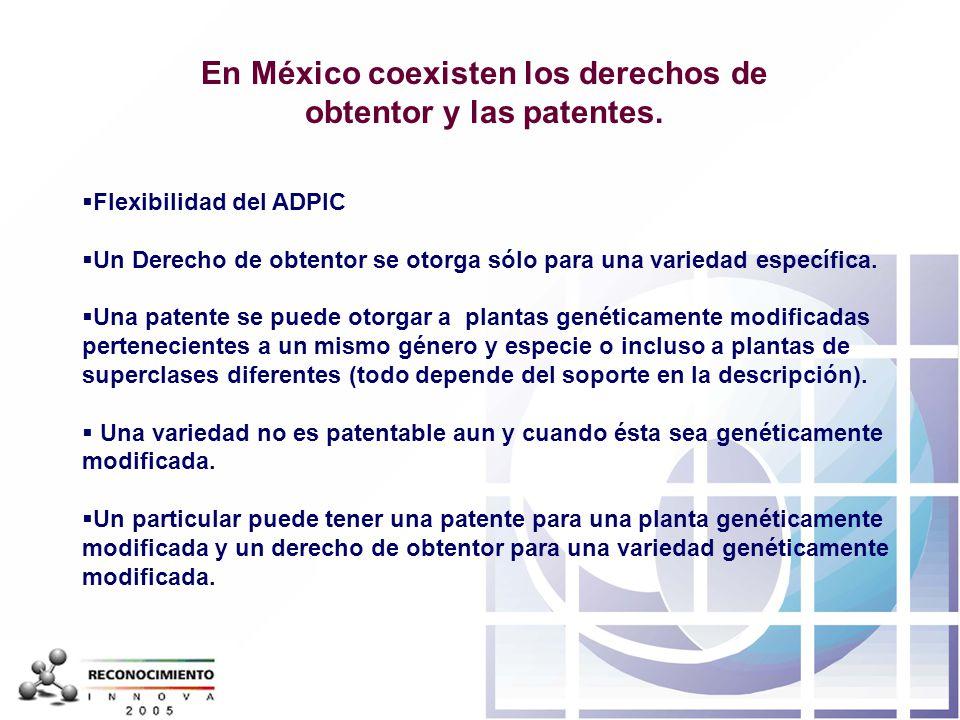 En México coexisten los derechos de obtentor y las patentes.