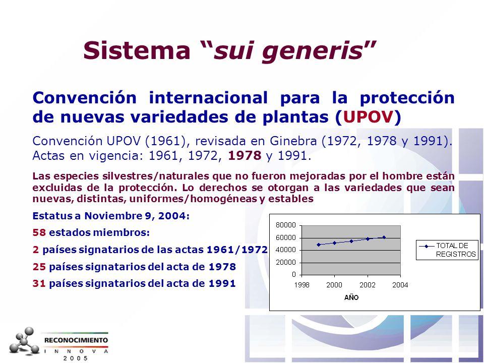 Sistema sui generis Convención internacional para la protección de nuevas variedades de plantas (UPOV)