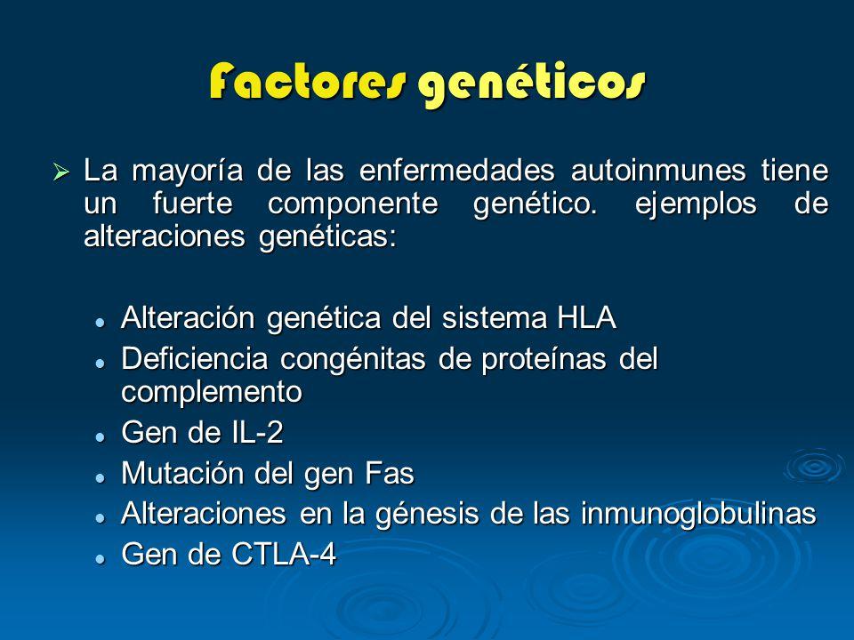 Factores genéticos La mayoría de las enfermedades autoinmunes tiene un fuerte componente genético. ejemplos de alteraciones genéticas: