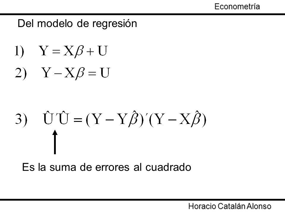Del modelo de regresión