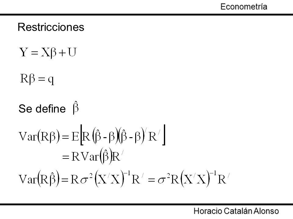 Restricciones Se define Econometría Taller de Econometría