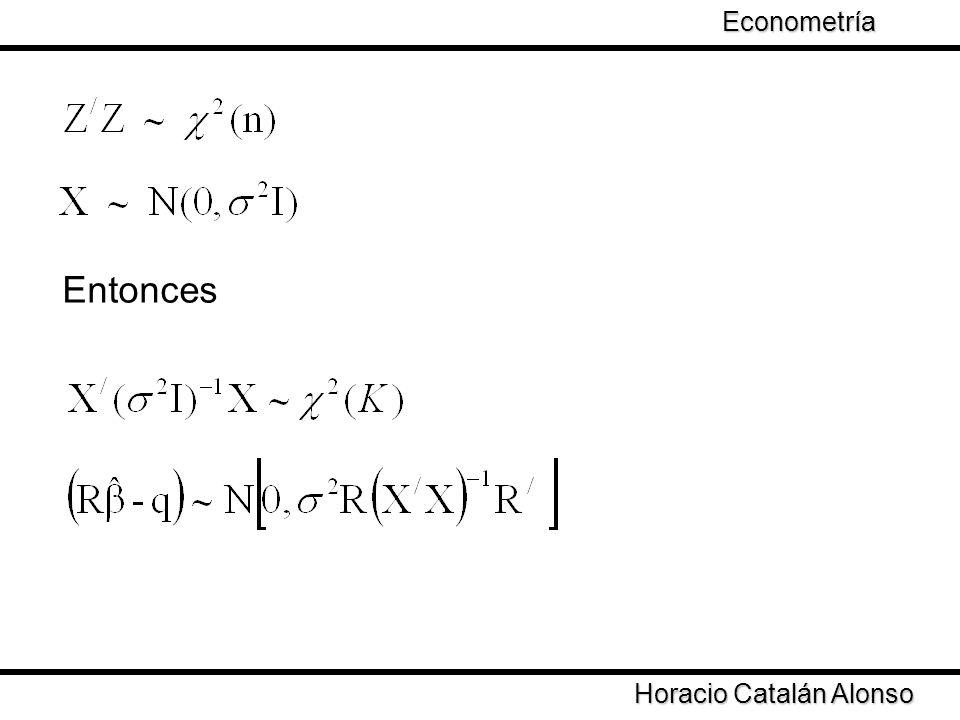 Econometría Taller de Econometría Entonces Horacio Catalán Alonso