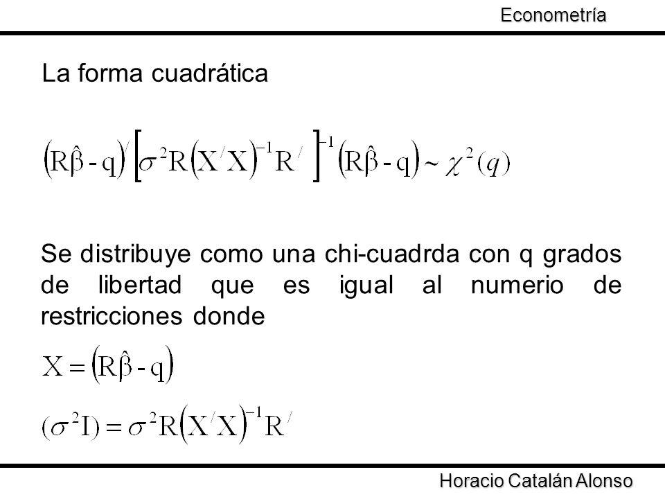 Econometría Taller de Econometría. La forma cuadrática.