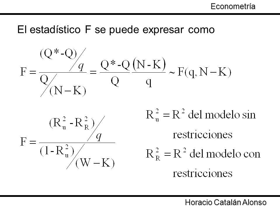 El estadístico F se puede expresar como