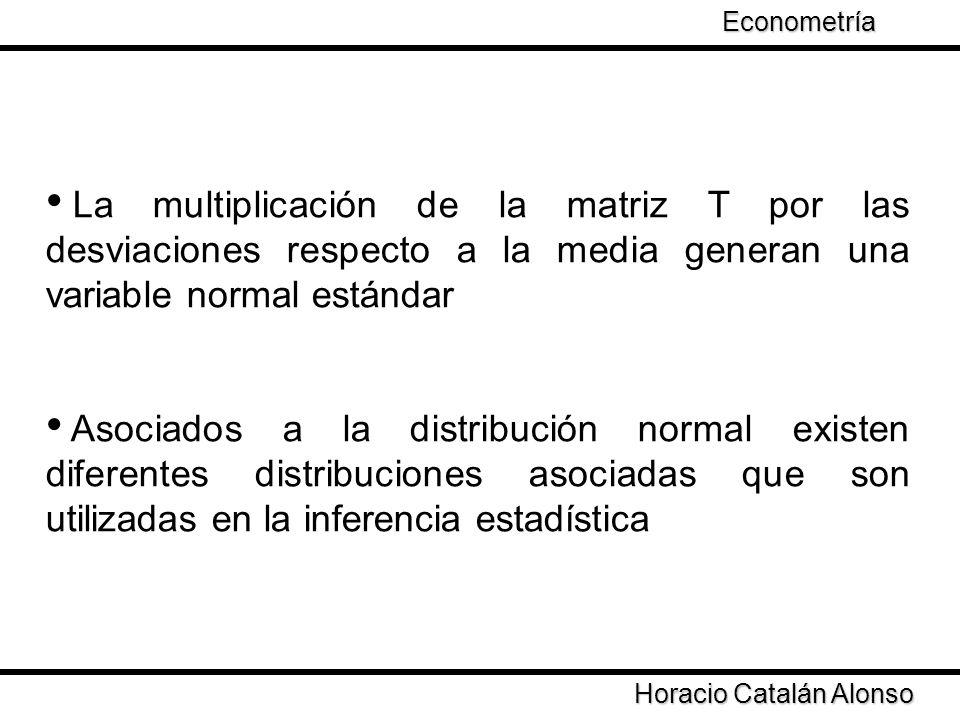 Econometría Taller de Econometría. La multiplicación de la matriz T por las desviaciones respecto a la media generan una variable normal estándar.