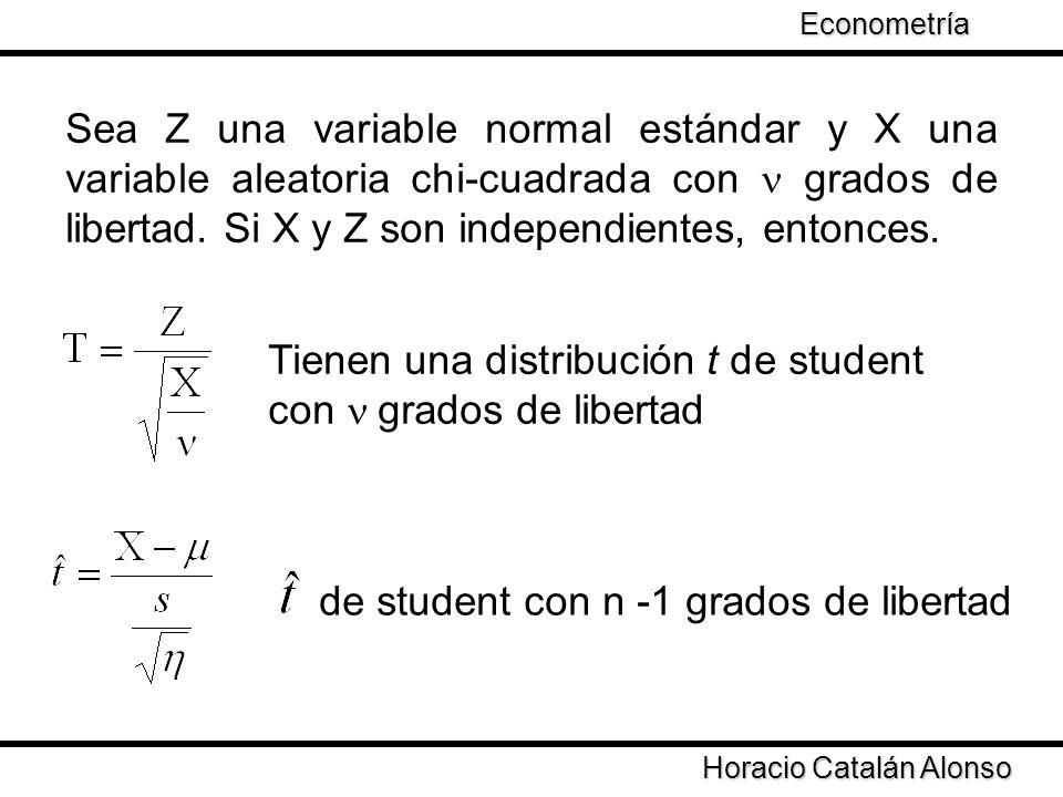 Tienen una distribución t de student con n grados de libertad