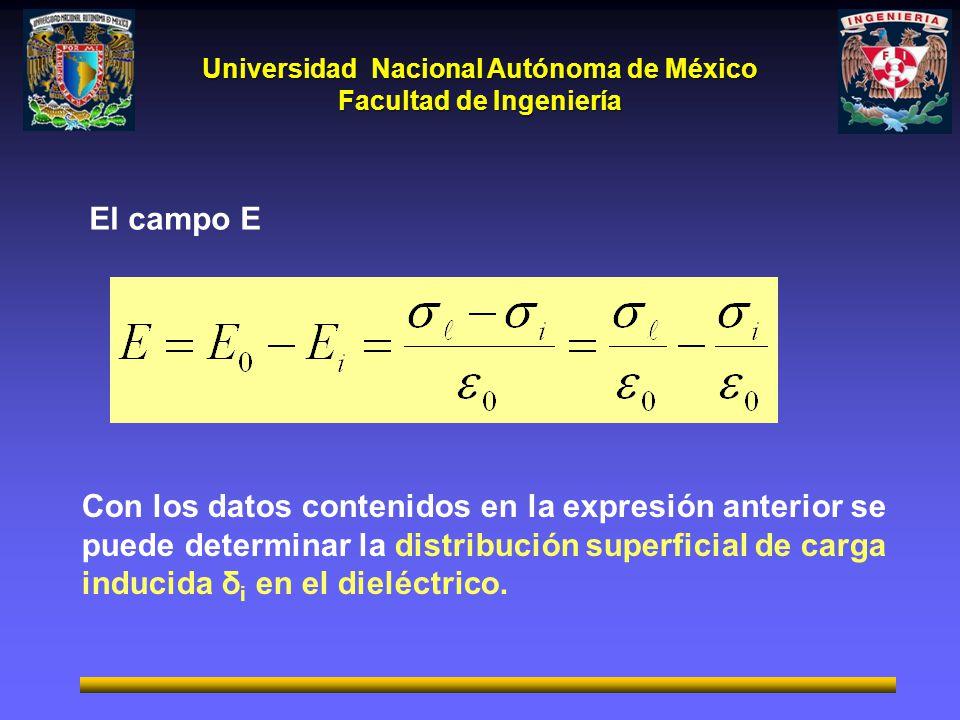 El campo E Con los datos contenidos en la expresión anterior se puede determinar la distribución superficial de carga inducida δi en el dieléctrico.
