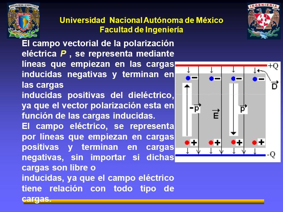El campo vectorial de la polarización eléctrica P , se representa mediante líneas que empiezan en las cargas inducidas negativas y terminan en las cargas