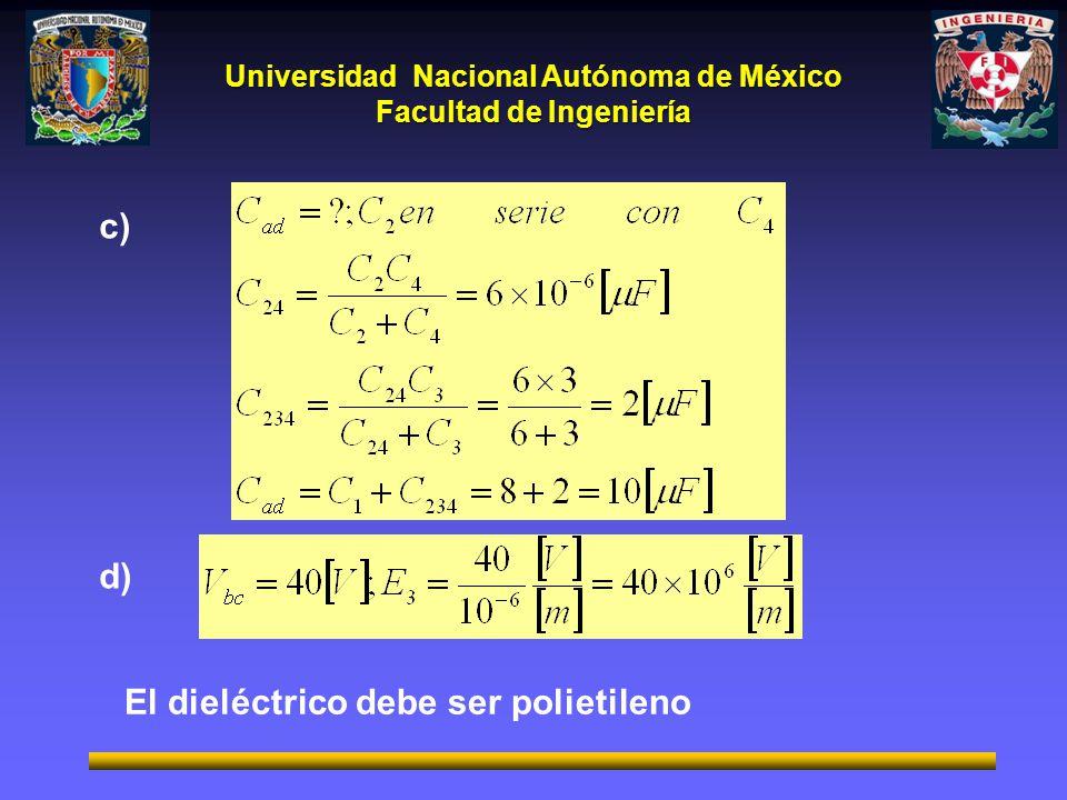 c) d) El dieléctrico debe ser polietileno