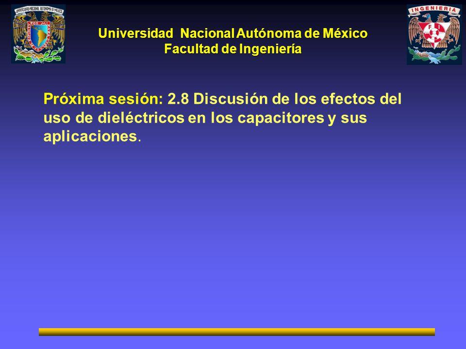 Próxima sesión: 2.8 Discusión de los efectos del uso de dieléctricos en los capacitores y sus aplicaciones.