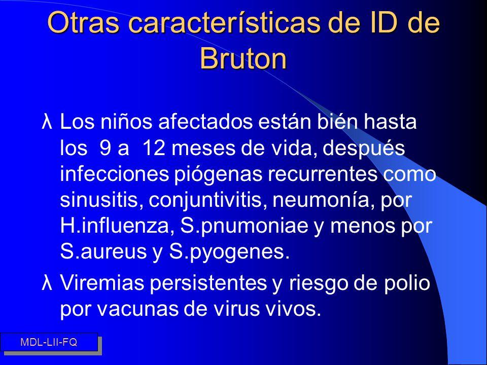 Síndrome de Di George Otras características de ID de Bruton