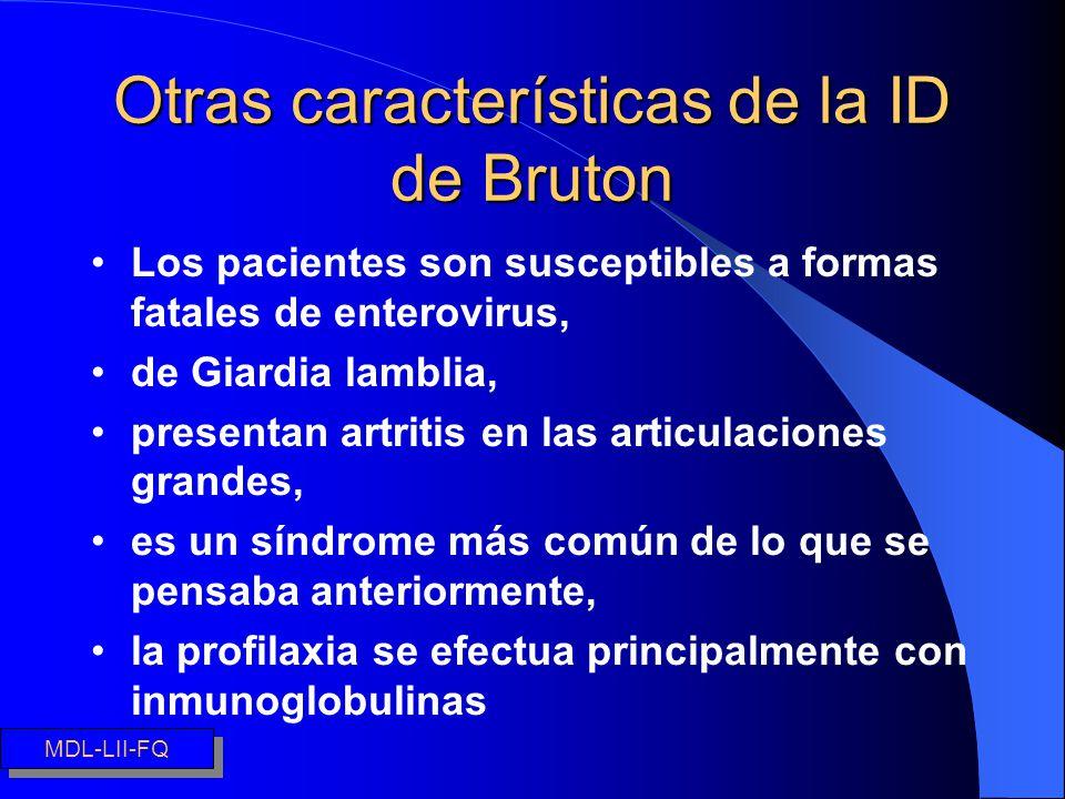 Otras características de la ID de Bruton