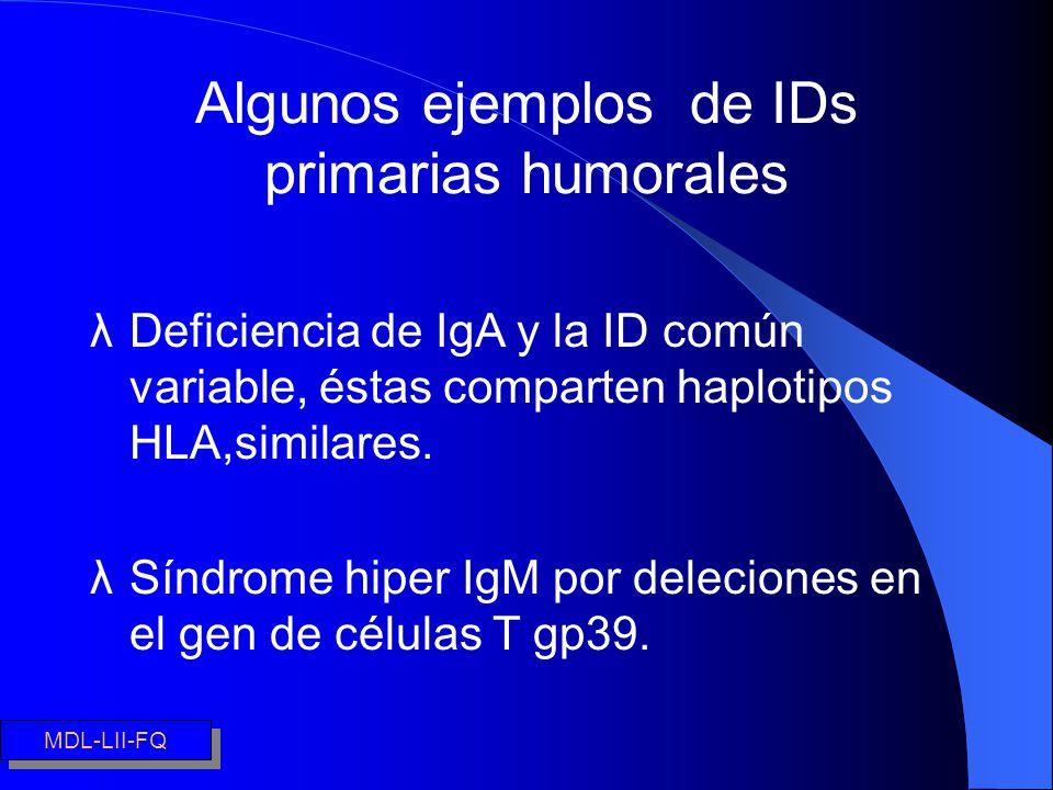 Algunos ejemplos de IDs primarias humorales