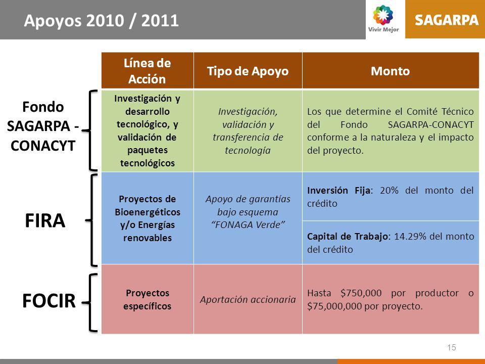 Apoyos 2010 / 2011 FIRCO Línea de Acción Tipo de Apoyo Monto
