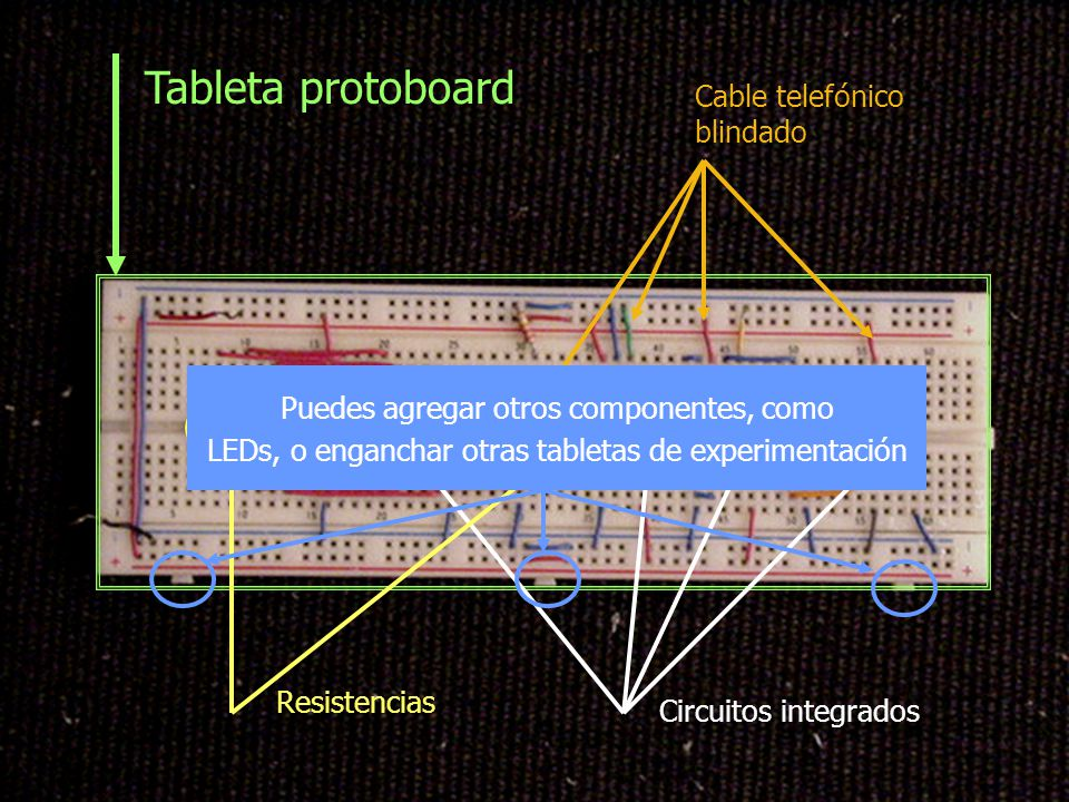 Tableta protoboard Cable telefónico blindado