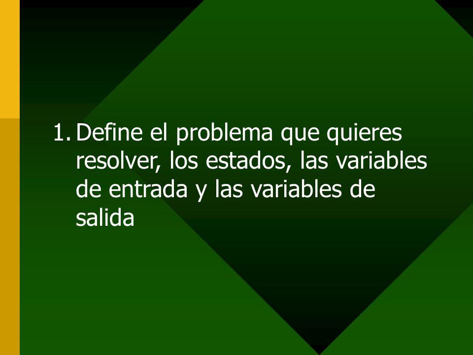 Define el problema que quieres resolver, los estados, las variables de entrada y las variables de salida