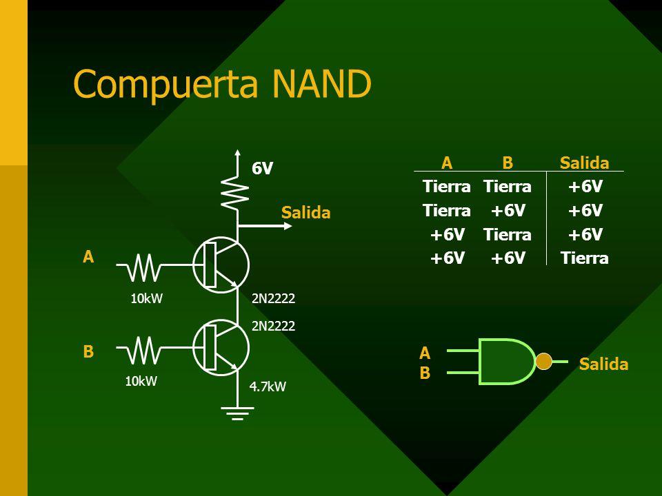 Compuerta NAND A B 6V Salida A Tierra +6V B Salida AB Salida 2N2222