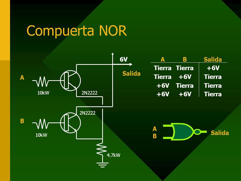 Compuerta NOR A B 6V Salida A Tierra +6V B Salida AB Salida 2N2222